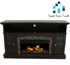 Electric Fireplace Heater TV Stand Mantel Entertainment Center Media Wood Flame