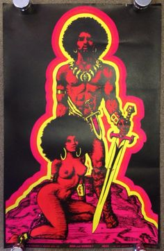 Original Vtg 1970 Black Light Poster MAN AND WOMAN I Nude African Sexy Afro