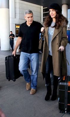 George and Amal Clooney are excitedly expecting twins together. Seen here, Amal hid her bump with a loose jumper while recently leaving LAX in California.