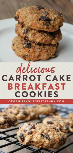 Delicious Carrot Cake Breakfast Cookies | Healthy Fall Recipes - Looking for the perfect and quick on the go breakfast? Shredded carrots, raisins, and pecans baked into a wholesome breakfast cookie completes this recipe. Organize Yourself Skinny | Carrot Cake Recipes | Healthy Snack Recipes | Healthy Cookies #cookies #healthybreakfast #healthysnack #healthyeating