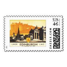 Vintage Edinburgh Scotland Travel Poster Art Postage