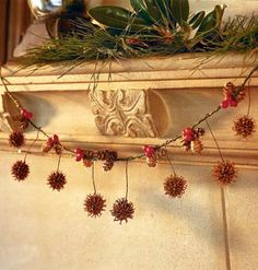 Pinecones, magnilia leaves, pine branches, pine cones and berries for a natural from your yard christmas Christmas Trimmings, Christmas Mantels, Primitive Christmas, Country Christmas, Winter Christmas, Christmas Home, Christmas Crafts, Christmas Decorations, Purple Christmas