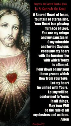 Prayer to the Sacred Heart of Jesus by St. Gertrude the Great - Our Morning Offering - 16 Nov 2017 ~ AnaStpaul