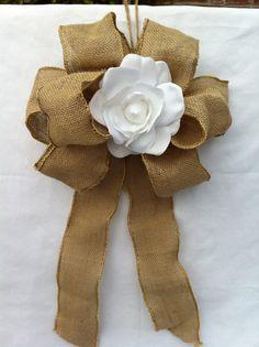 Pew decorations. Burlap bow