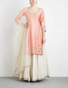 Peach and Off White Sharara Set Pakistani Dresses, Indian Dresses, Indian Outfits, Indian Clothes, Gharara Designs, Choli Designs, Kurta Designs, Blouse Designs, Indian Designer Outfits