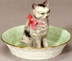 Thomas Whieldon - Seated Cat in a Basket. Staffordshire, England. Circa 1750.