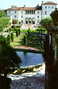 Vizcaya Museum & Gardens in Miami. An Italian Renaissance-style estate built in 1916 as the winter residence of industrialist James Deering. Over 10 acres of formal gardens and fountains surround a villa containing 34 rooms of 15th through 19th-century antique furnishings and decorative arts.