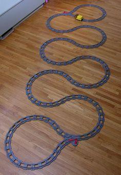 LEGO Duplo train track setup