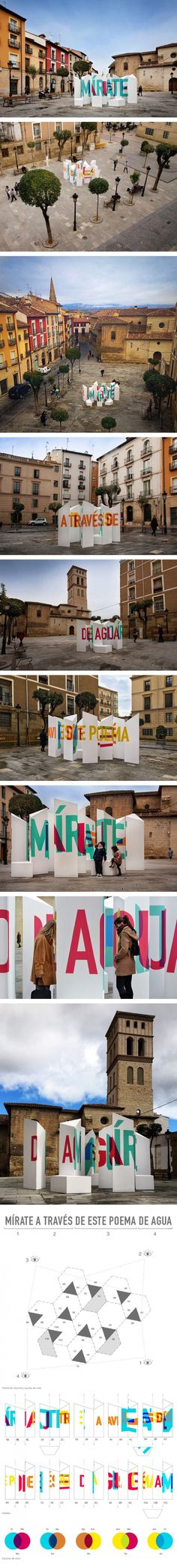 sculpture combines typography and perspective