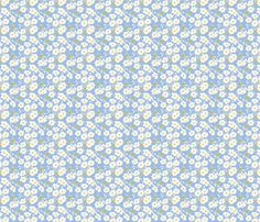 Japanese Anenomes in Blue Ditsy Petite fabric by anntuck on Spoonflower - custom fabric