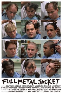 """Full Metal Jacket"" poster showing all the main characters getting their boot camp buzz cut."