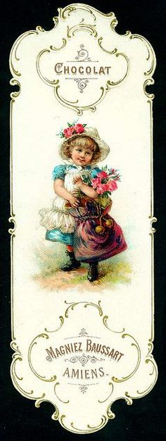 Baussart Chocolat♥ - Bookmark sweeter than my usual likes. Vintage Bookmarks, Vintage Tags, Vintage Labels, Vintage Ephemera, Vintage Postcards, Vintage Prints, Decoupage Vintage, Decoupage Paper, Vintage Paper