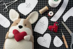 "Quigley the Corgi free sewing pattern comes just in time for making the perfect Valentine's Day gift! Nothing says ""I love you"" like a handmade corgi you can squeeze!"