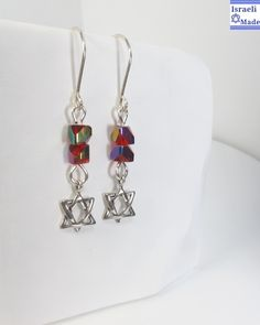 Silver Star of David earrings with red beads - IsraeliMade