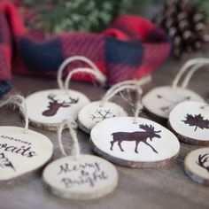 Create faux wood burned Christmas tree ornaments without any special tools.