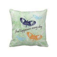 Happiness Butterflies Throw Pillows