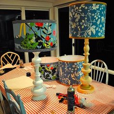 patterned lampshade make over