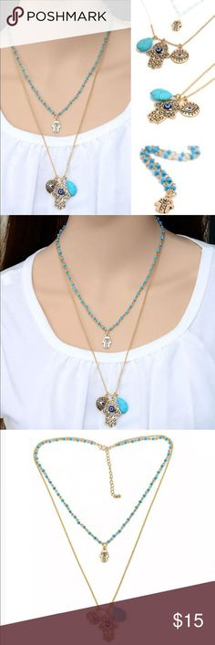 New✨ Turquoise Hamsa Evil Eye Necklace 👁🗨✨ New✨ Turquoise Hamsa Evil Eye Necklace 👁🗨✨  ✨ Fashion Jewelry ✨Alloy, Gold Plated, Layered Necklace ✨All necklaces connected to one clasp    🔸Brand New✨ 🔸PRICE IS FIRM- already listed at lowest price  🔸If you want to save please look into bundling  🔸In Stock 🔸No Trades 🔸Will ship within 24 hours Monday-Friday  🚫Please -NO- Offers on items priced $10 and under AND ON SALE ITEMS‼️  🚫Serious Inquiries Only❣️  🔹Bundle one or more items…