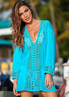 Summer Sexy Women Cover Ups Lace Crochet Bikini White Blouse Hollow Out V-Neck Beach Cover-Up Swim Wear Beach Dresses, Summer Dresses, Beach Attire, Bohemian Mode, Boho Fashion, Ideias Fashion, Summer Outfits, Summer Clothes, Cover Up