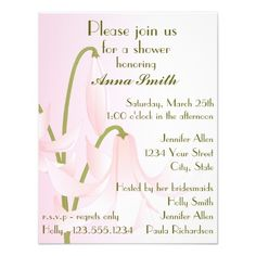 Pretty Pink Lily Bridal Shower Custom Invitations