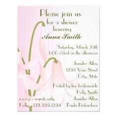 Pretty Pink Lily Bridal Shower Custom Invitations