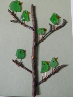Family Tree of Green Sea Glass Birds in a 8 x by RockyCoastDesigns