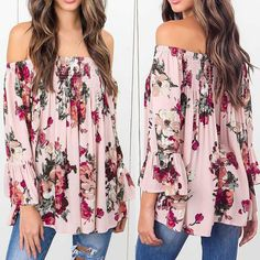 Sexy Casual Women Floral Print Tops Off Shoulder Flare Sleeve Shirt Blouse Pink Off Shoulder Fashion, Off Shoulder Shirt, Shoulder Tops, Maternity Tops, Maternity Fashion, Long Sleeve Tops, Long Sleeve Shirts, Stylish Tops, Boho Tops