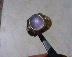 Vintage 14K Gold Star Sapphire Ring. Light Slightly Grayish, Violetish Blue 11.64 Carats