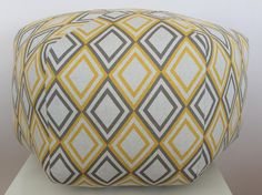 "READY TO SHIP - 24"" Ottoman Pouf Floor Pillow Yellow Natural Geometric."