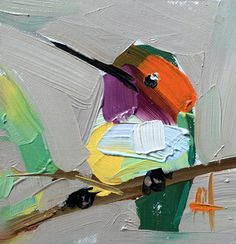 Hummingbird no. 175 Original Bird Oil Painting by Angela Moulton 4 x 4 inch Mounted on Maple Panel pre-order by prattcreekart on Etsy