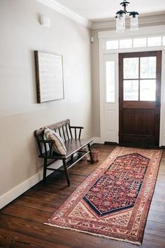 This charming Moroccan rug nicely blends in with the earthy tones of the interior.
