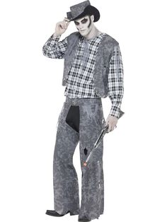 Go alternative this Halloween with this ghoulish Ghost Town Cowboy Costume from Smiffy's. Pack contains hat, neck-tie, waistcoat, top & trousers. Zombie Halloween Costumes, Joker Costume, Ghost Costumes, Halloween Party Themes, Halloween 2019, Happy Halloween, Zombie Fancy Dress, Halloween Fancy Dress, Cowboy Costume For Men