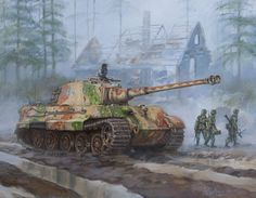 Print of German King Tiger tank in the Battle of the Bulge