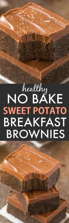 Healthy No Bake Sweet Potato Breakfast Brownies (V, GF, P, DF)- Easy, thick, chewy, fudgy and guilt-free brownies for breakfast- Protein packed and refined sugar free, with a thick, healthy chocolate frosting too! {vegan, gluten free, paleo recipe}- thebigmansworld.com