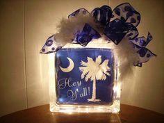 """Lighted glass block -"""" Hey Y'all""""- Palmetto Tree with Crescent moon-reg. 27.99-now 24.99. $24.99, via Etsy."""