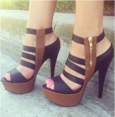 Shoes ♡ Heels Black and brown straps high #heel shoes