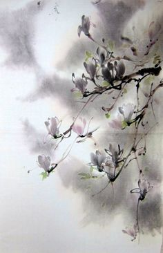 Suibokuga Japanese ink painting Sumi-e Floral  Magnolia in moonlight on Etsy, $96.71