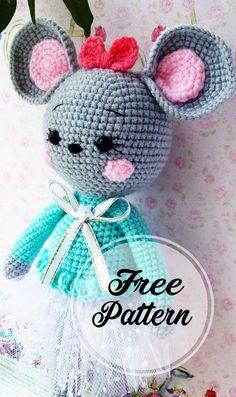 Free Amigurumi Crochet Pattern Very Cute Green Colored Mouse Girl , amigurumi patterns free; amigurumi for beginners; Crochet Motifs, Crochet Amigurumi Free Patterns, Crochet Animal Patterns, Stuffed Animal Patterns, Free Crochet, Crochet For Kids, Crochet Mouse, Crochet Bear, Crochet Dolls