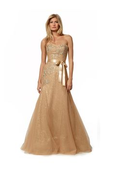 Metallic embroidered tulle over sequins strapless fit and flare with satin ribbon sash in gold.