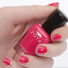 Metallic shades are a great accent to any summer manicure! Use a full-coverage foil like Zoya Nail Polish in Kerry as a half moon, polka dots, french tip or ruffian style manicure (Shown here with Zoya Yana) - the possibilities are endless! http://www.zoya.com/content/38/item/Zoya/Zoya-Nail-Polish-Kerry-ZP684.html