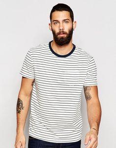 River Island – Gestreiftes T-Shirt mit Tasche und aufgerollten Ärmeln in  Weiß und Marineblau 4259923860