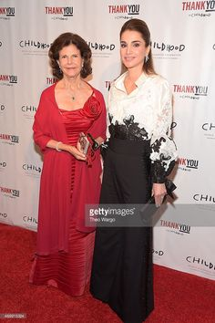 Queen Silvia of Sweden and Queen Rania of Jordan attend the World Childhood Foundation 16th Anniversary on September 24, 2015 in New York City.