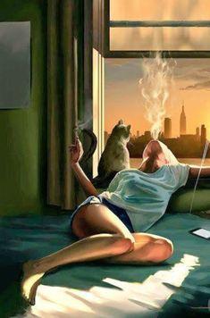 art surrealista surrealista girl smoking in bed Art Sketches, Art Drawings, Art Afro, Arte Pop, Girl Smoking, Erotic Art, Fantasy Art, Pop Art, Art Photography