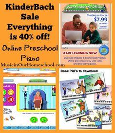 KinderBach Sale 40% off everything, Preschool Lessons for Online Piano. musicinourhomeschool.com