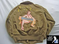 WWII Nose Art Pin up Hand Painted Flight Jacket B-10 Lost Worlds