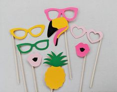Flamingo Photo Booth Props Tropical Photo Booth Props