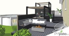 Patio en composite St-Jérôme - Pur Patio Bi Level Homes, Patio Deck Designs, Backyard Pool Landscaping, Home Porch, Backyard Projects, Small Patio, Pool Houses, Outdoor Spaces, Small Spaces