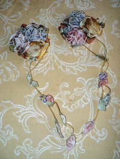 Antique Silk Ribbonwork Ribbon flowers Pair Original 1920s  Lot Milinery Dress Restoration Supplies