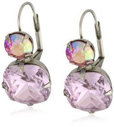 "BESTSELLER! Sorrelli ""Sweet Heart"" Classic Two Drop Pink Cut Crystal French Wire Earrings $44.00"