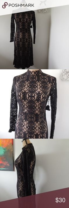 """Long Sleeve High Neck Black Lace Overlay Dress Beautiful high neck long sleeve lace over nude liner dress midi  Form fitting back zipper size small fits x small best Mannequin measures 34"""",25', 35""""  questions? just ask  Coach, dooney and bourke, vintage and more great finds in my closet! Forever 21 Dresses"""